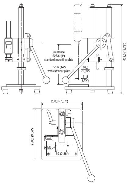 Abmessungen Mechanischer Kraft-Prüfstand NLV-220