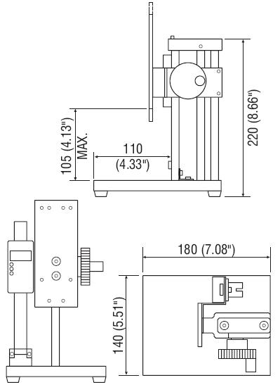 Abmessungen Mechanischer Kraft-Prüfstand KV-11
