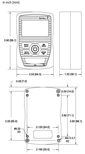 Abmessungen Kraftmessgerät digital Series 3I