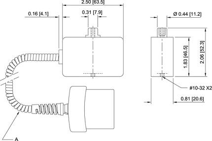 Abmessungen Mark 10 Kraftsensor R03 Series