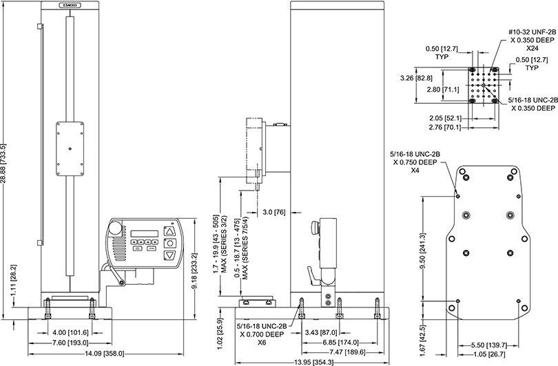 Abmessungen Motorisierter Kraft-Prüfstand ESM303