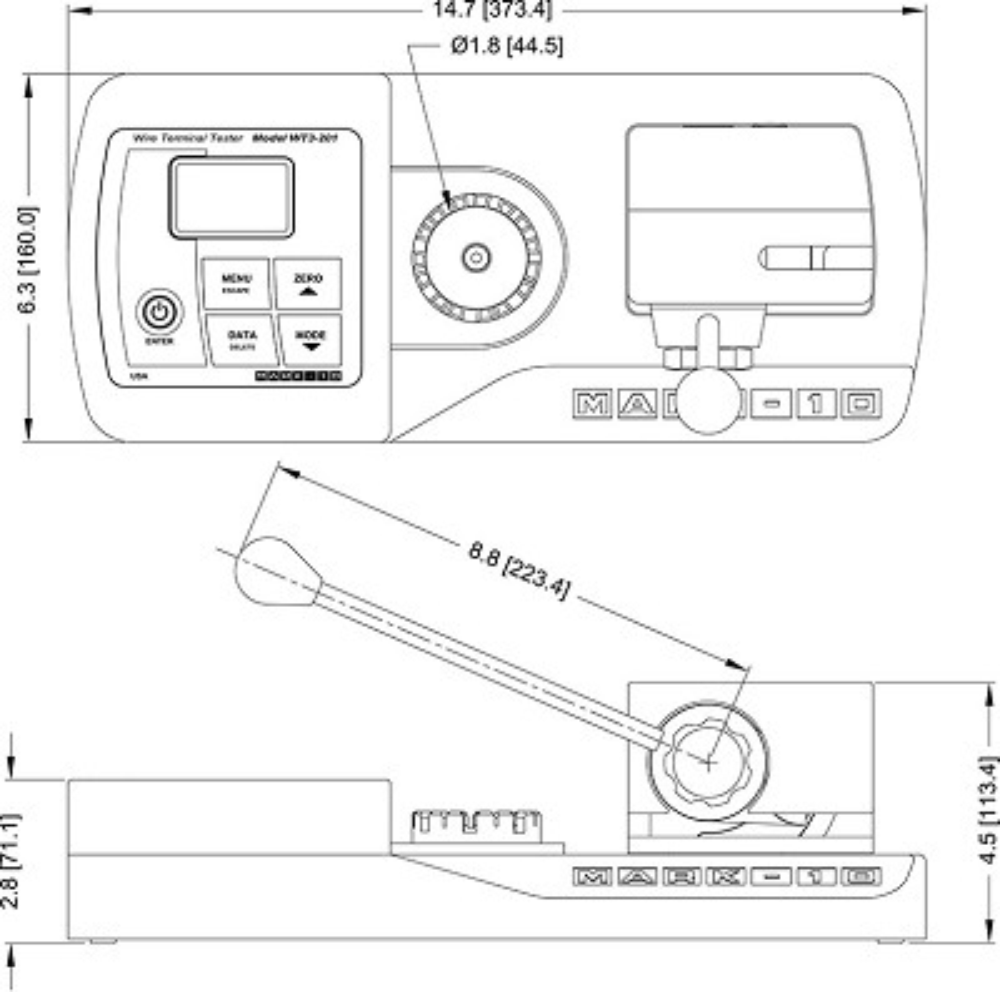 Abmessungen Auszugskraftmessgeräte WT3-201
